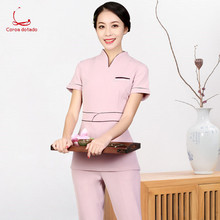 2019 new salon cosmetologist working suit, foot bath, massage technician, spring/summer short sleeve suit