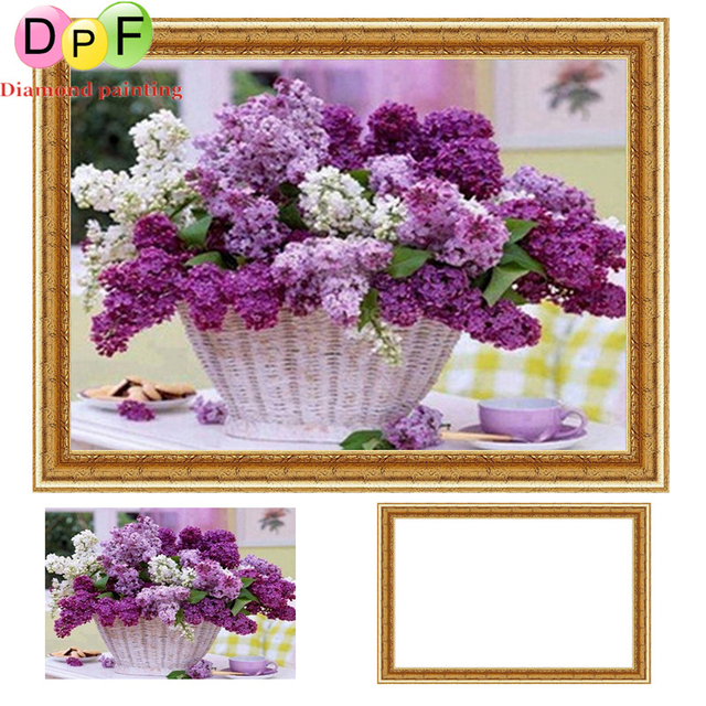 0f100f11f6 DPF Framed Diamond Embroidery round Diamond Painting Diamond Cross Stitch  Rhinestone home Decoration painting Flower basket
