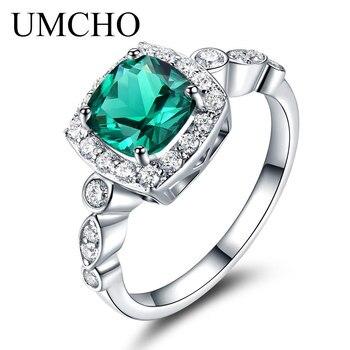 4c432ce261f5 UMCHO genuino 925 anillos de plata de ley Esmeralda rubí ópalo Topacio  joyería de la amistad para las mujeres regalos joyería fina