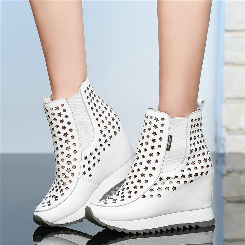 NAYIDUYUN Tennis Shoes Women Trainers Cow Leather High Heel Gladiator Sandals Cut Out Wedges Platform Round Toe Summer Pumps