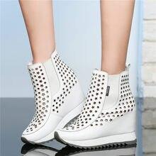 купить NAYIDUYUN   Tennis Shoes Women Trainers Cow Leather High Heel Gladiator Sandals Cut Out Wedges Platform Round Toe Summer Pumps по цене 5687.54 рублей