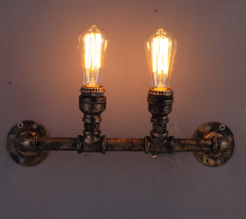 B012 Nordic Loft Style Industrial Water Pipe Wall Lamp For Home Antique Bedside Edison Retro Wall Sconce Indoor Lighting 110v 220v loft nordic antique industrial double wall lamp metal lighting home decor library wall sconce 2 e27 bulbs