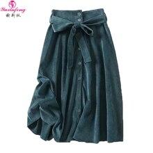 c0a77a7cb Yuxinfeng falda de pana verde mujer Otoño Invierno Casual una línea Midi  faldas con cinturón ropa de calle Harajuku falda jupe f.