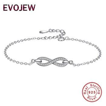 507d16166112 EVOJEW de moda de plata esterlina 925 enlace cadena encanto pulsera de  cristal claro infinito pulseras