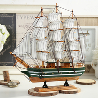 Sailboat Model Ornament woodiness Mediterranean style solid wood simulation Craft boat Handmade Creative gift Bar decoration