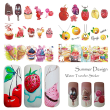 1pcs Nail Sticker Summer Water Transfer Decals Fruit/Ice Cream/Cartoon Design Temporary Tattoos Slider Tips SASTZ474-488