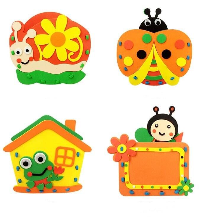 4 шт./лот 12 Цветов DIY Развивающие игрушки подарок EVA детские руки ручной работы из войлока Craft Наборы игрушки Ручка контейнера для детей