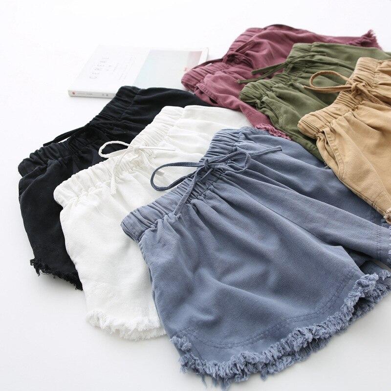 Basic Frayed Cotton Shorts Women Solid Wide Leg Shorts Summer Casual White, Black
