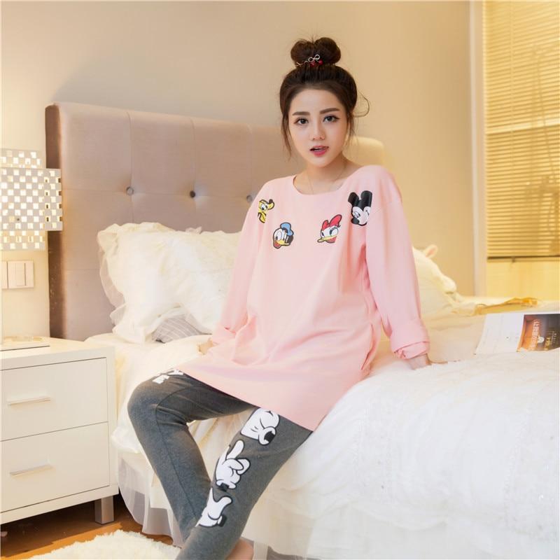 Autumn 2018 WAVMIT New Women Pyjamas Cotton Clothing Long Tops Set Female Pyjamas Sets NightSuit Sleepwear Sets Women Home Wear