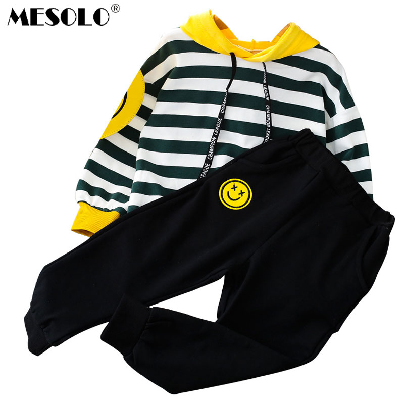 MESOLO Girls' Autumn striped hooded sweater suit 2018 new autumn wear children two piece sports children's wear CK286