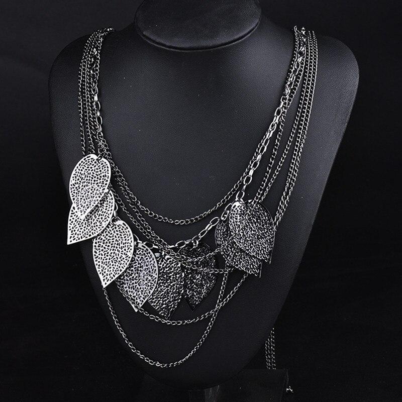 Leaf Necklace Pendants Banquet Metal Multiple-Layers Women Gift 3-Colour-Plated Evening-Dress
