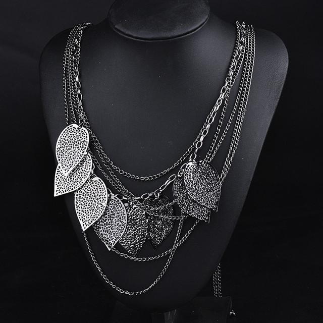 Fashion Necklaces & Pendants Metal 3 Colour Plated Multiple Layers Leaf Necklace Banquet Evening Dress Women Gift