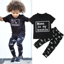 2Pcs Toddler Kid Baby Boy Clothes Set Short Sleeve Letter Print T-shirt Tops+Cartoon Dinosaur Pants Legging Cotton Outfits 6M-4T kid outfits round neck letter pattern tops in grey