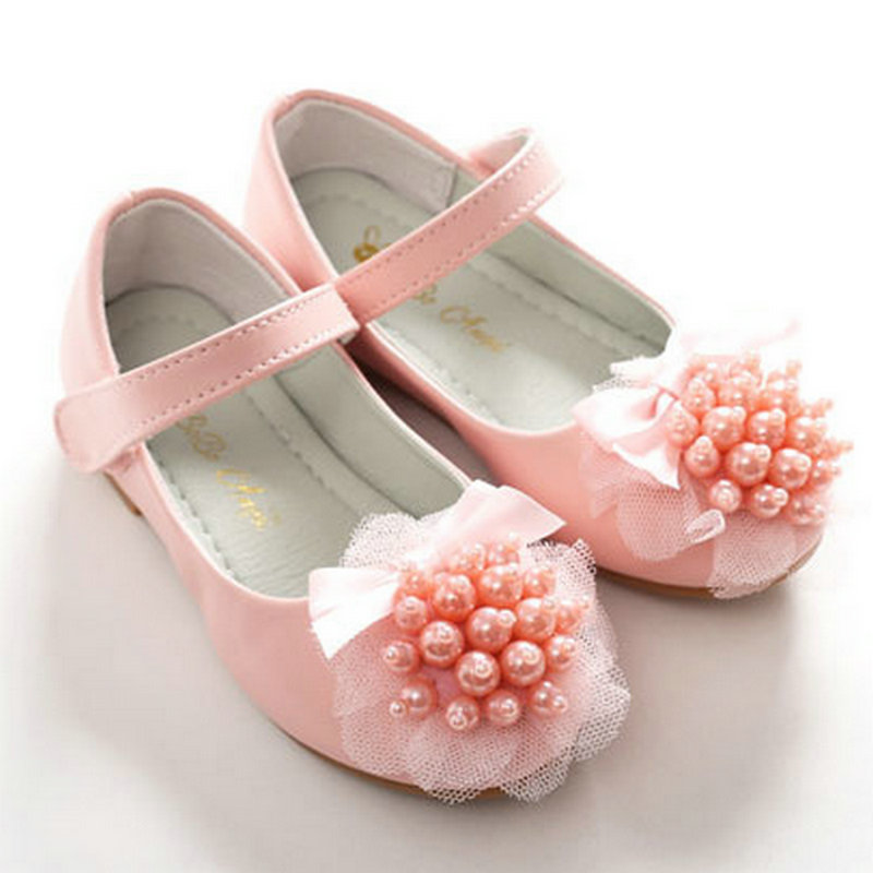 Lace pearl girls leather princess shoes girls shoes kids party shoes girls flats dress wedding dance shoes for girls