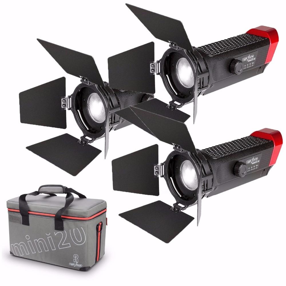 Aputure LS-mini20 3 Kit De Luz de Vídeo para Vídeo Incluem Dois mini 20d, um mini 20c TLCI CRI 96 + 40000lux LED Fresnel Luz 0.5 m DSLR