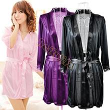 2014 Pure Silk Material Sexy Women Nightgown Charming Lingerie Night Dress Set Bathrobe female + G-String Set 3 Colors 13137 Z