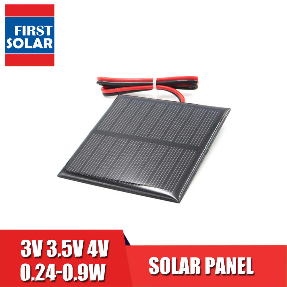 Solar Panel extend wire 4 3.5 3 V Vdc Mini Solar System DIY For Battery Cell Phone Charger 0.36W 0.45W 0.9W 0.24W 0.6W 0.64W toy
