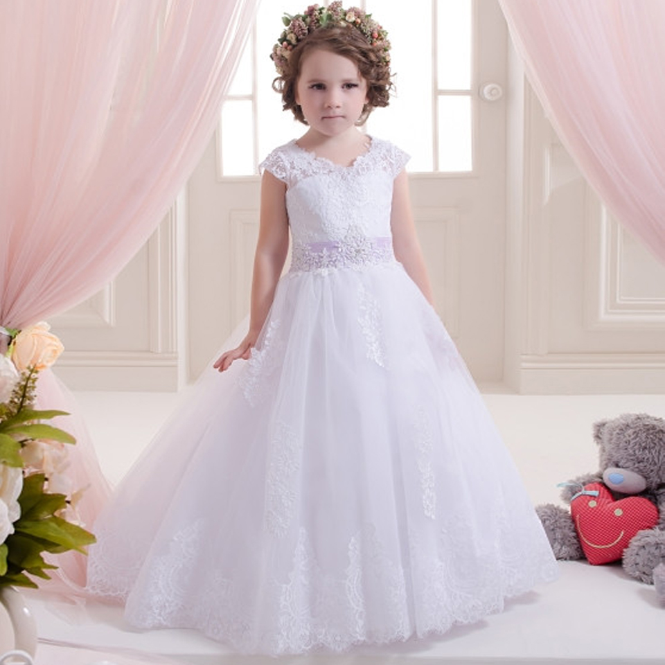 White Girls First Communion Dress Ball Gown Bow Sash Lace Up O-Neck Short Sleeves Robe Communion Fille Girls Pageant Dresses cute new long sleeves white ball gown flower girl dresses french lace beaded first communion dress with sequin bow and sash