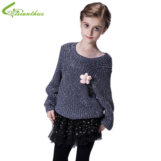 Niñas Suéter de Moda Infantil Otoño Invierno Prendas de Punto Ropa de Los Niños de La Manga Completa de Tejer Tops Ropa Envío de La Gota Libre