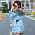 2017 Nova Coats & Jaquetas Com Capuz neve do Inverno Mulheres Jaqueta gola De Pele casaco de inverno mulheres De Longo Algodão-acolchoado Casaco