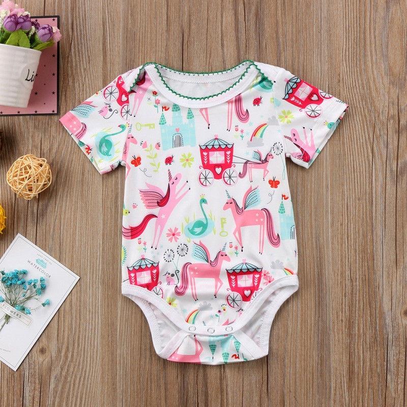 3f1a204b0 Baby Girls Unicorn Printed Romper 2018 Summer Infant Baby Girl Short ...