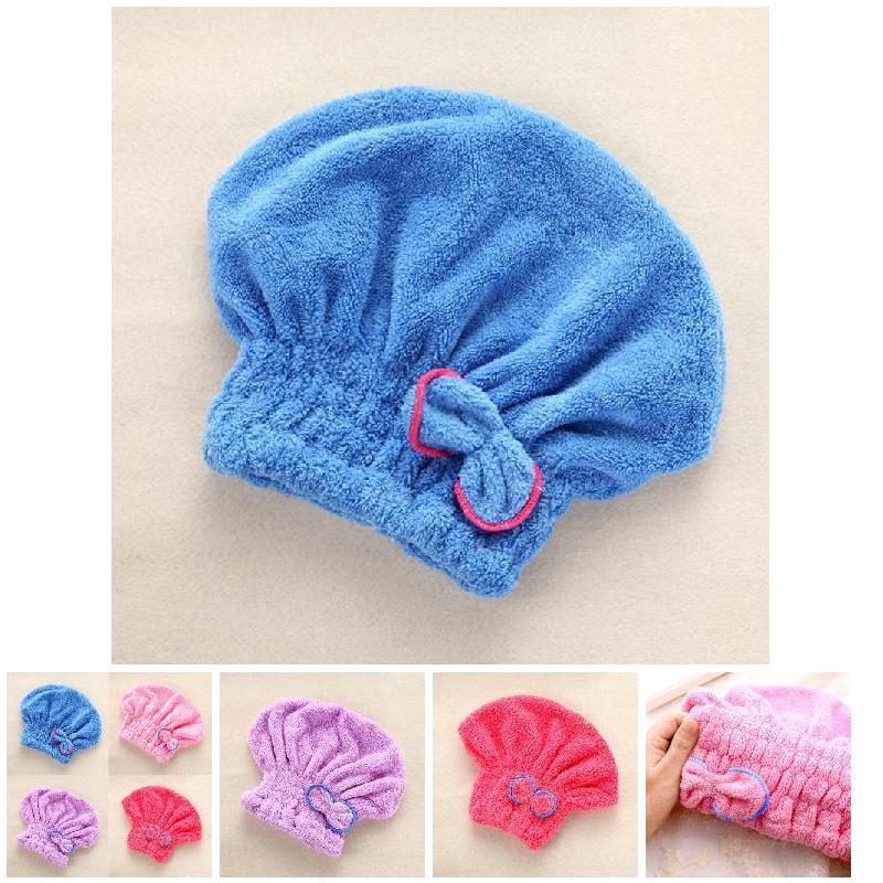 Cute Microfibre Quick Hair Drying Bath Spa Bowknot Wrap Towel Hat Cap For Bath Bathroom Styling Tools Cap HB88