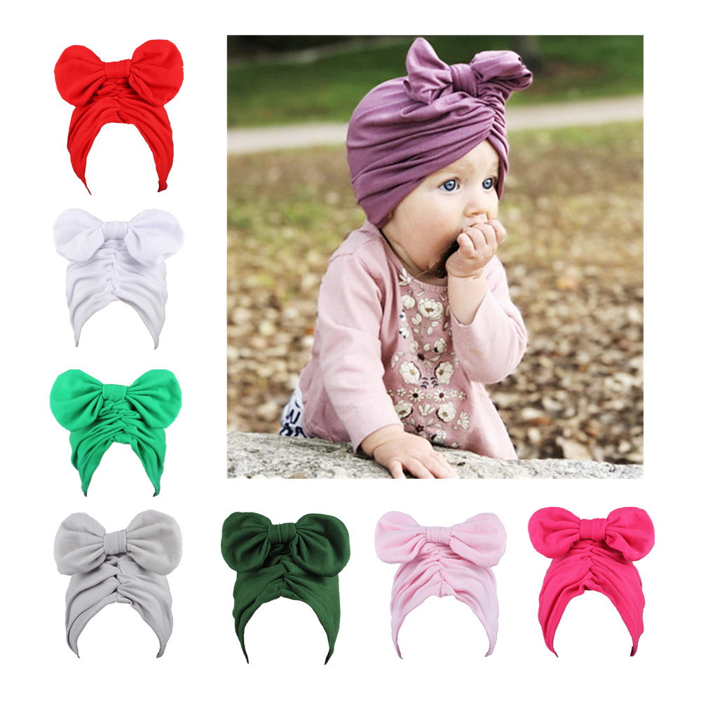 Baby turban hat bowknot turbans for tots Infant toddler Topknot beanie Baby girls shower gift stretchy photo props