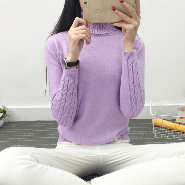 Women Long Sleeve Turtleneck Pullover Winter Sweater