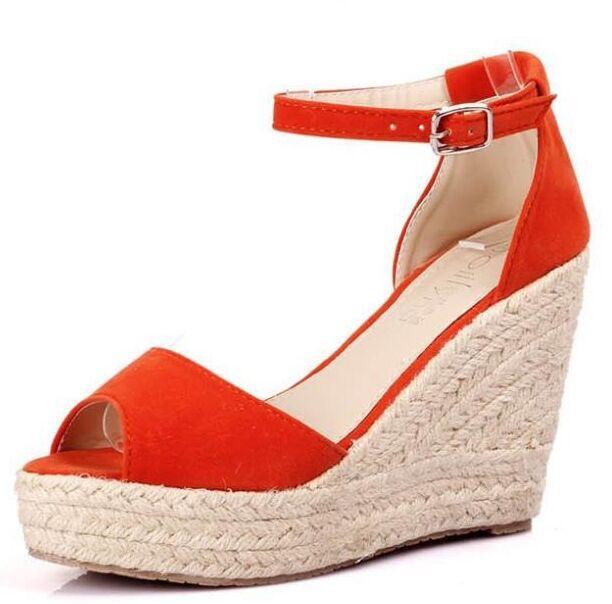 2016 Elegant Fashion Women s Open Toe Straw Braid Wedges Sandals Velvet  Platform Wedges Summer Shoes High Heels Sandals Hot Sale-in Women s Sandals  from ... ac82503077fa