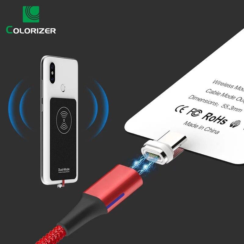Qi Receptor de Carregamento Sem Fio Magnético Cabo USB Para iPhone Samsung Huawei Dual-Mode Sem Fio & QC3.0 Wired Carregamento Rápido módulo