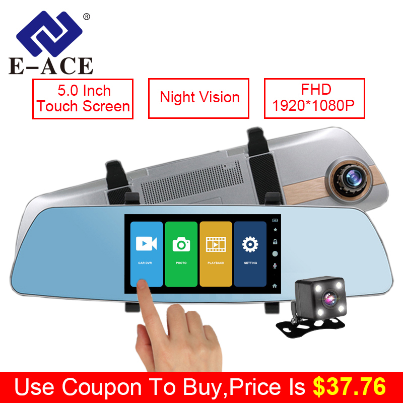 E-ACE Car Dvr 5 Inch Touch Screen Rearview Mirror Super Night Vision 1080P Dash Camera Dual Lens Video Recorder Parking Monitor e ace car camera 5 inch dvrs with dual camera lens full hd 1080p 30fps video registratory rearview mirror dashcam night vision