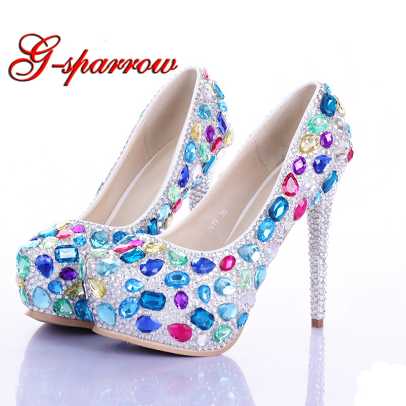 Multi Crystal Bridal Shoes Luxury Rhinestone Wedding Bride Shoes Evening Party Prom Shoes Custom Made Valentine High Heels women s fashion gold lace dinner evening party pumps shoes plus sizes low high heels custom made bridal wedding shoes