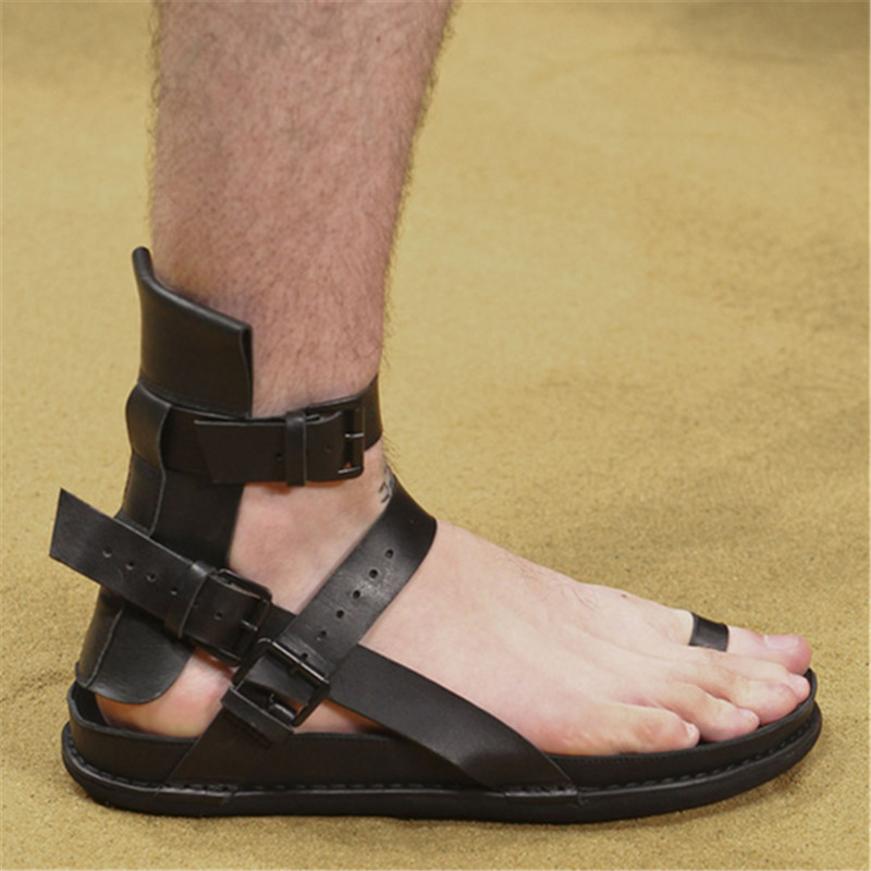 Black&Street Men Summer Genuine Leather Roma Open Toe Gladiator Sandals Slippers Slides Summer Men Sandals