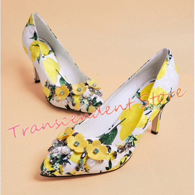 Flower Print Elegant Women Bohemian Pumps New Fashion Pointed Toe Celebrity Pumps Shallow Crystal Spring Autumn Women Shoes