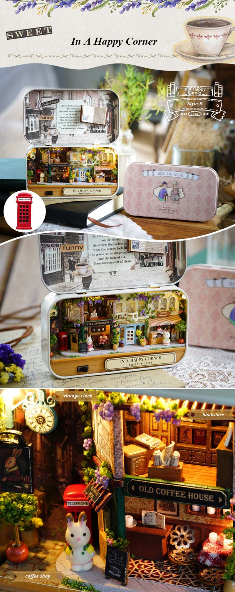 In A Happy Corner 3D Wooden DIY Handmade Box Theatre Dollhouse Miniature Box Cute Mini Doll House Assemble Kits Gift Toys (4)