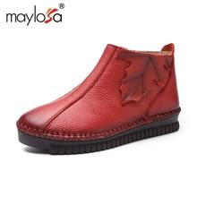 MAYLOSA 2017 mujeres del Estilo de La Vendimia Botines de Cuero Genuino Hecha A Mano con cordones Mujer Caliente Zapatos de Invierno Botines Planos de tamaño 35-43