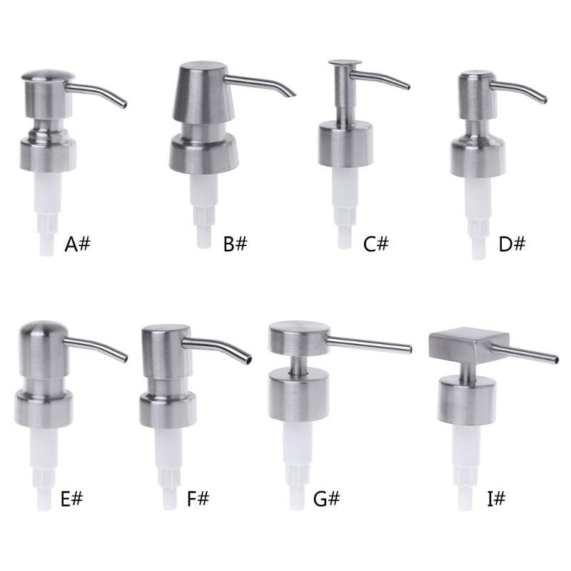 Silver Liquid Soap Dispenser Press Head Lotion Pump Bottle Nozzle Dispenser Replacement Jar Tube 8 Types