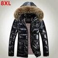Новый Большой размер зимняя куртка XL жира мужской большой размер яркий зимняя одежда 8XL жира мужской зимнее пальто Больших ярдов мужская вниз куртка