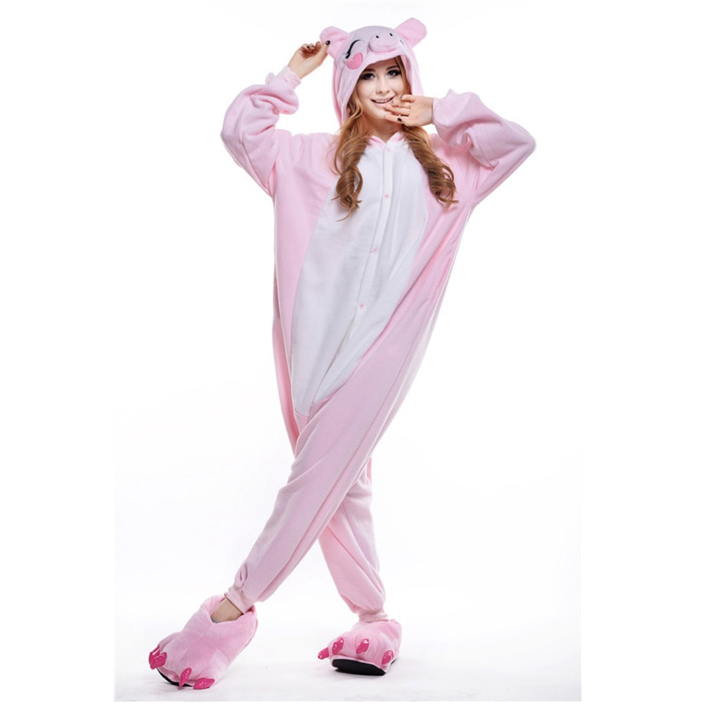 2016 Winter Pink Pig Pajamas Soft Cartoon Costume Onesie Fleece Pyjamas Disfraz Animal Pijama mujer pajamas woman