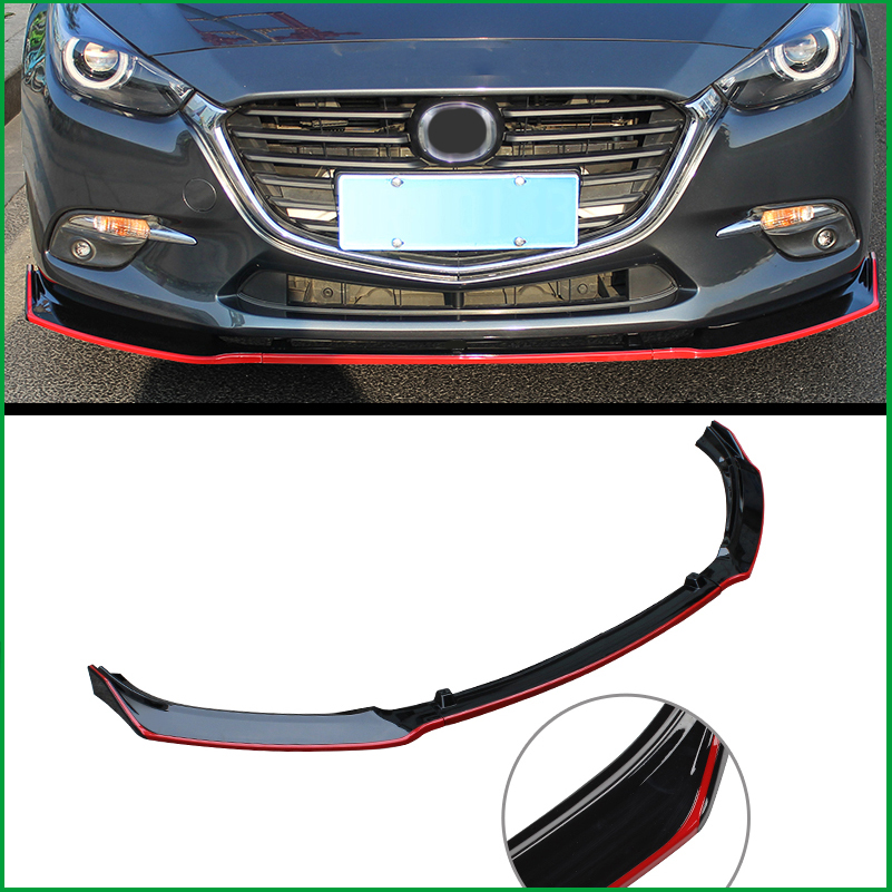 Car Styling For Mazda 3 M3 Axela 2014-2018 ABS Front Bumper Lower Grille Protector Plate Lip Cover Sticker Trim Decorative strip car styling for mazda 6 m6 atenza 2014 2017 front bumper lower grille protector plate lip cover sticker trim decorative strip