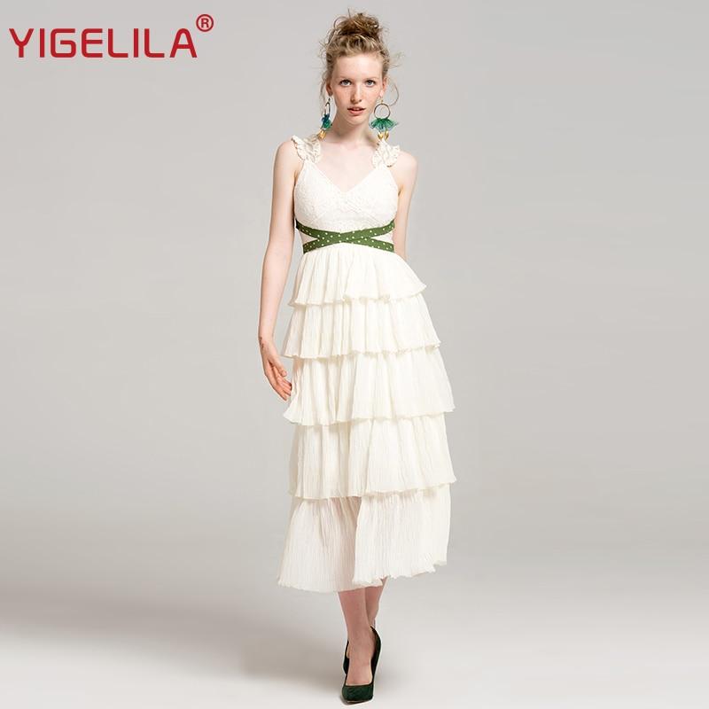 YIGELILA 2019 Latest Summer Women Fashion High Street V neck Spaghetti Strap Empire Slim Backless Bandage