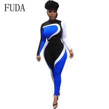 FUDA Autumn Casual Patchwork Long Sleeve Women Playsuits Rompers Womens Jumpsuit Bodycon Bodysuit One Piece Pants Overalls