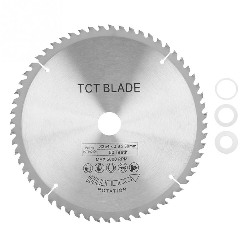 Carbide Circular Saw Blade TCT Cutting Disc For Metal Wood Plastic 254*30mm 60 Teeth With 3 Washer