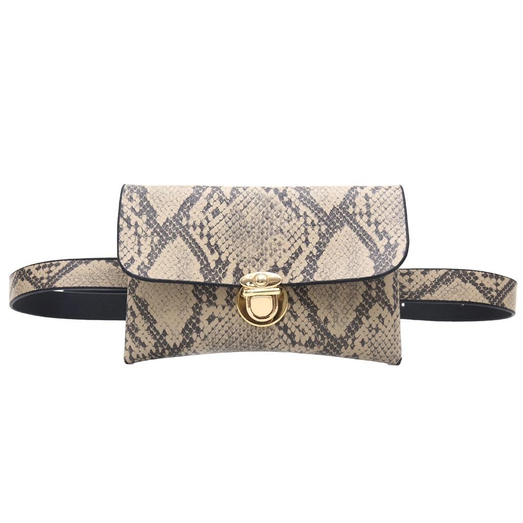 Fashion Waist Bag Women Retro Serpentine Vintage Leather Messenger Bag Crossbody Bags Chest Bags Sac De Taille
