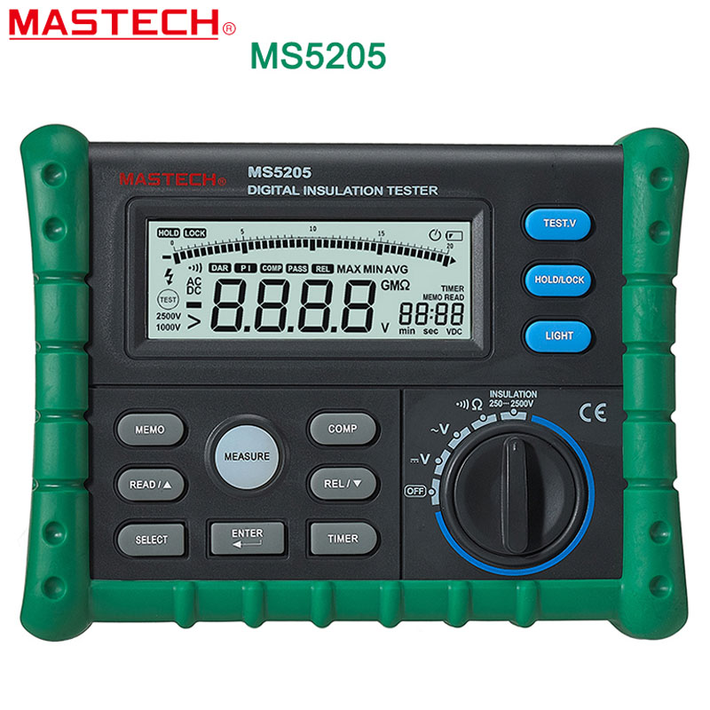 MASTECH MS5205 Digital Megger Insulation Tester Resistance Meter Tecrep 10G 2500V Multimeter Voltage Detector digital megger insulation resistance tester sound and light alarm mastech ms5201