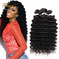 Hot sell 7A Unprocessed Brazilian Virgin Hair Deep Wave 100%Human Hair Extension Human Hair Weave Bundles Brazilian Deep Wave