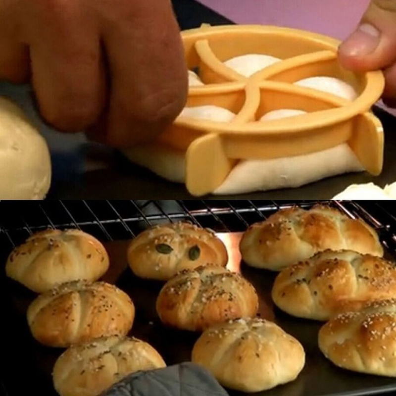 Bread Rolls Mold Fan Shaped Pastry Cutter Dough Cookie Press Biscuit Stamp-Mould