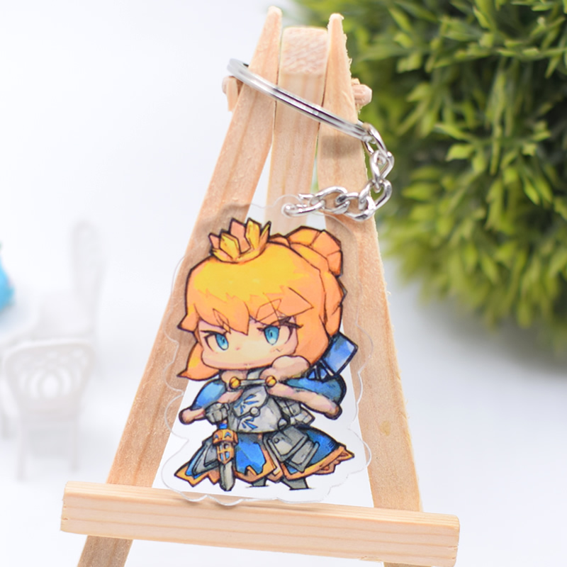 Key Chains Fate Stay Night Saber Heart Led Keychain Archer Lancer Cute Funny Fashion Crystal Pendant Keyrings Accessories Portachiavi Gifts