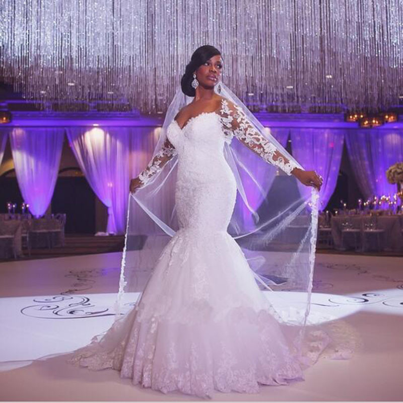 390aa9d823c vivian s bridal 2018 sexy sweetheart mermaid wedding dress customized long  sleeve lace appliques court train bridal gown ~ Best Seller May 2019