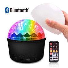 Newest LED Disco Ball Light Lamp Bluetooth Speaker USB Music 9 Colors 9W Portable Mini Stage Light Party Lights With Remote(China)